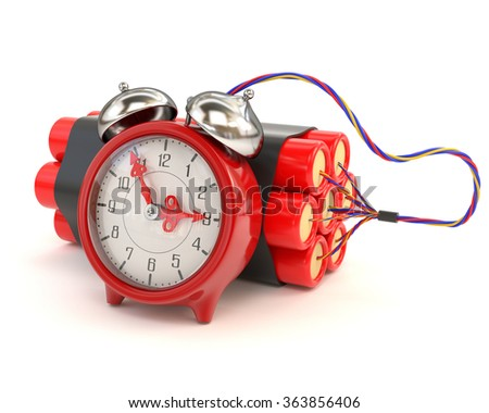 Bundle of dynamite and clocks isolated on white background. 3d illustration. - stock photo