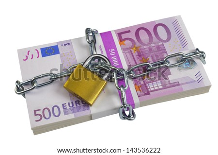 bundle of 500 Euro banknotes locked with chain - stock photo