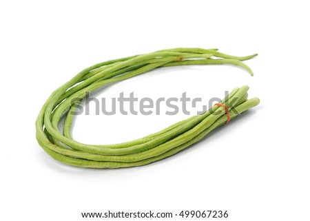 bundle of fresh long beans isolated on a white background