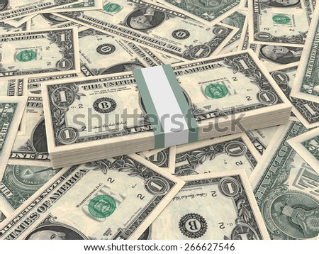 Bundle of one dollars bank notes on the background.  3D illustration.