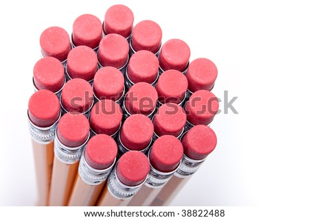 Bundle of pencils and erasers viewed from the top - stock photo
