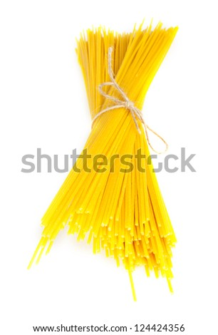 Bundle of spaghetti white isolated