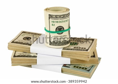 Bundle of US dollars stacked on each other, closeup, selective focus - stock photo