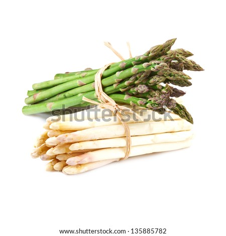 bundle of white and green asparagus - stock photo