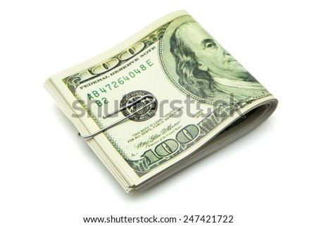 bundles of tickets for hundred dollars  - stock photo