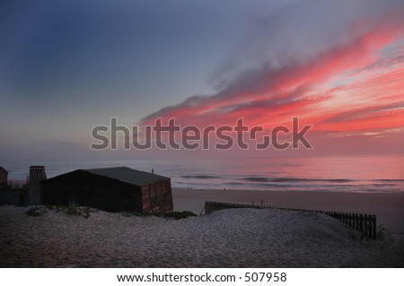 Bungaloo at Sunset - stock photo
