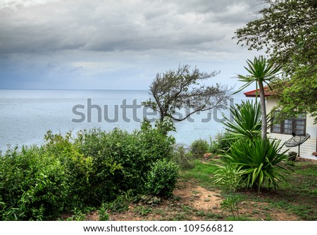 Bungalow Sea View On Overcast Day At Island