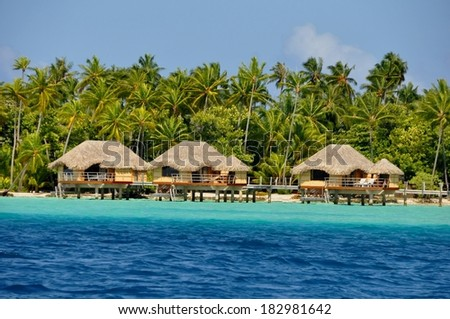 Bungalows at raiatea Island, french polynesia