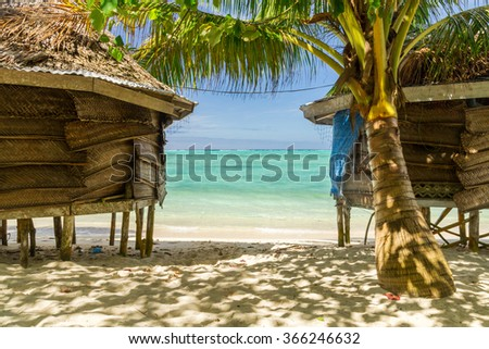 Bungaolow on sunny beach at Samoa island in south pacific - stock photo