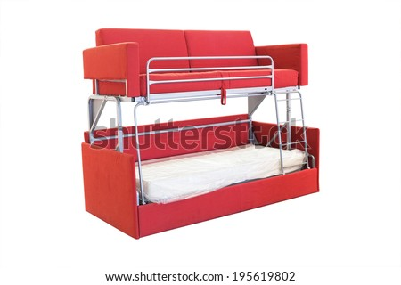 bunk bed under the white background - stock photo
