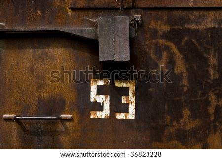 bunker door closeup - stock photo