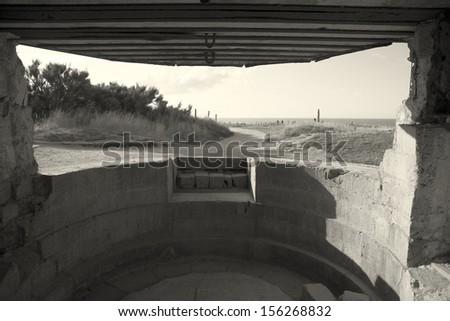 Bunker in the Pointe du Hoc, Cricqueville-en-Bessin, Normandie, France - stock photo