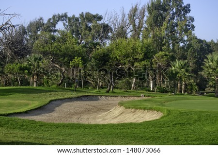 Bunker of a golf course of Malaga.