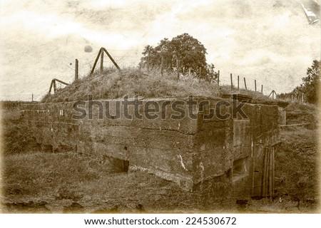 Bunker pillbox great world war 1 flanders belgium - stock photo