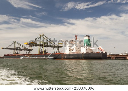 Bunkering a ship in the port - stock photo