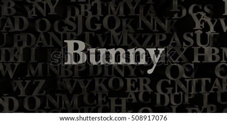 Bunny - Stock image of 3D rendered metallic typeset headline illustration.  Can be used for an online banner ad or a print postcard.