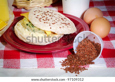buns and ingredients in the background - stock photo