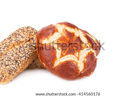 Buns of bread isolated on white background. - stock photo