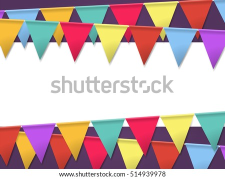 Bunting flags holidays template poster empty stock illustration bunting flags for holidays template for poster with empty frame for your text maxwellsz