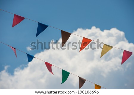 bunting with cloud - stock photo