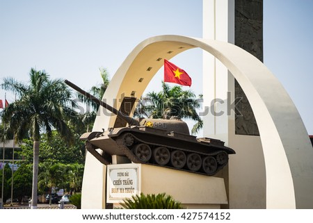Buon Ma Thuot, Vietnam - Mar 30, 2016: Victory monument of a T-54 Tank in central point of city, crossroads of 6 roads to discover the Buon Ma Thuot city