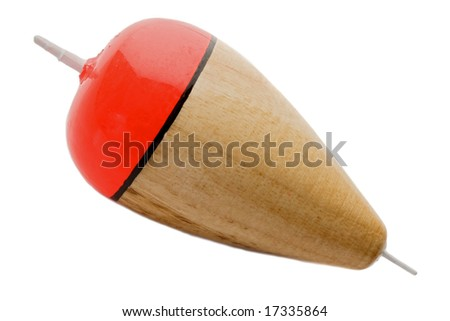 Buoy fishing wooden on a white background - stock photo
