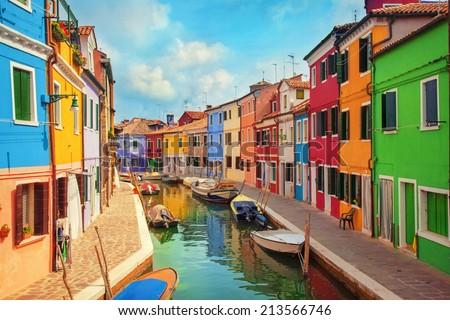 Burano, an island in the Venetian Lagoon - stock photo