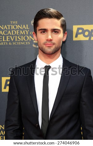 BURBANK - APR 26: Max Ehrich at the 42nd Daytime Emmy Awards Gala at Warner Bros. Studio on April 26, 2015 in Burbank, California - stock photo