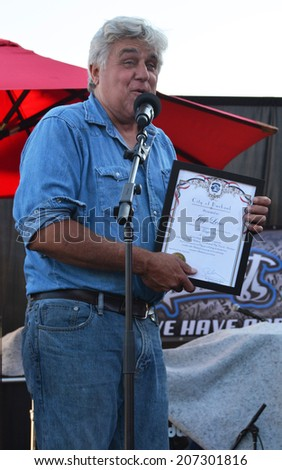 BURBANK, CA - JULY 26, 2014: Former Tonight Show host Jay Leno receives a Lifetime Achievement Award from the city of Burbank. - stock photo