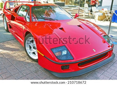 BURBANK/CALIFORNIA - JULY 26, 2014: 1990 Ferrari F40 formerly owned by rock star Rod Stewart on display at the Burbank Car Classic July 26, 2014, Burbank, California USA  - stock photo