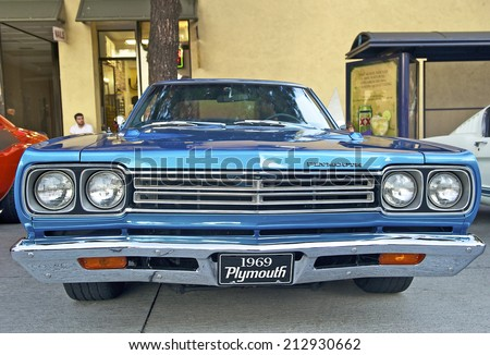 BURBANK/CALIFORNIA - JULY 26, 2014: 1969 Plymouth Roadrunner owned by Matt Sicheri at the Burbank Car Classic July 26, 2014, Burbank, California USA  - stock photo