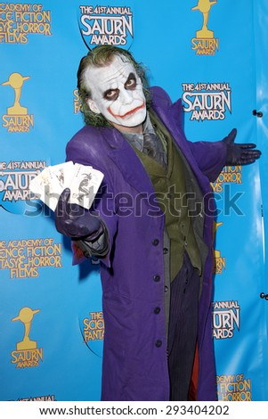BURBANK - JUNE 25: Cosplayer as The Joker arrives at the 41st Annual Saturn Awards on Thursday, June 25, 2015 at the Castaway Restaurant in Burbank, CA. - stock photo