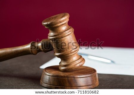 Burden of proof, legal law concept image. Purple background