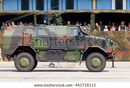 BURG / GERMANY - JUNE 25, 2016: german armored military infantry mobility vehicle, ATF Dingo drives on open day in barrack burg / germany at june 25, 2016