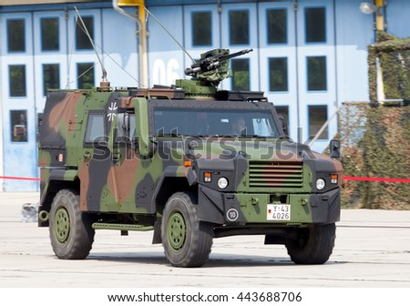 BURG / GERMANY - JUNE 25, 2016: german army transporter, mowag eagle IV drives on open day in barrack burg / germany on june 25, 2016
