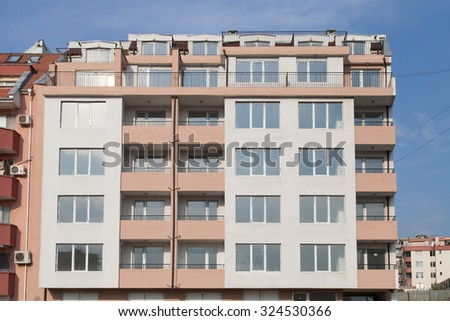 Burgas - August 20: A newly built building in nice bright colors with apartments for sale on August 20, 2015 Bourgas, Bulgaria