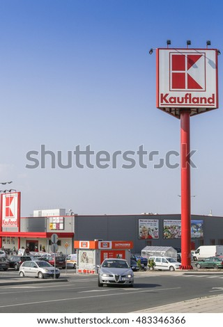 Burgas - August 4: Parking and Kaufland store background of blue sky with white clouds on August 4, 2016, Burgas, Bulgaria