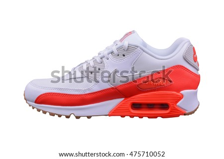 BURGAS, BULGARIA - AUGUST 29, 2016: Nike Air MAX lady's - women's shoes - sneakers - trainers, in white and orange, illustrative, editorial isolated on white