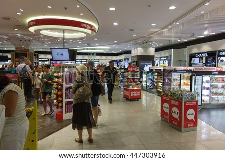 Burgas, Bulgaria - June 19, 2016: duty-free shop in the airport building is popular with passengers