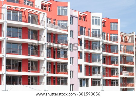 Burgas - June 8: A newly built building in nice bright colors with apartments for sale on June 8, 2015 Bourgas, Bulgaria