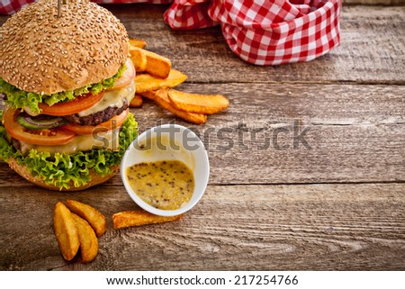 Burger And Fries  - stock photo