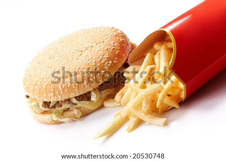 Burger and Fries in Cardboard Fast Unhealthy Food on White Background - stock photo
