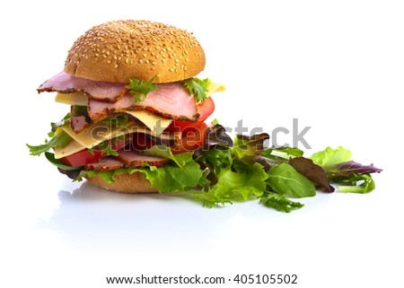 burger and salad isolated on white background - stock photo