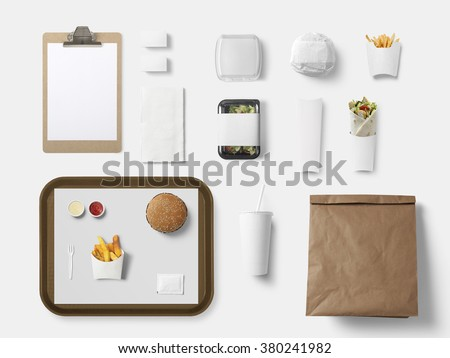 Burger bar corporate identity template design set. Branding mock up, top view - stock photo