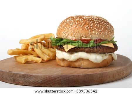 burger beef with potatoes  - American food - fast food - junk food - hamburger  - stock photo