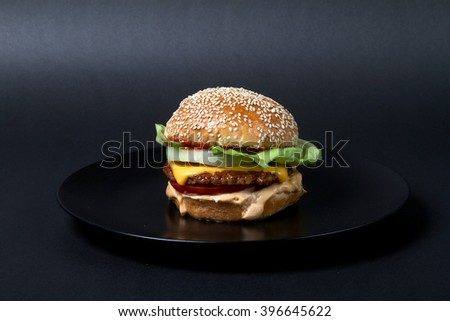 burger beef with potatoes  American junk fast food hamburger with cheese cheeseburger - stock photo