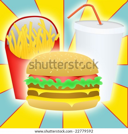 Burger, fries, and drink meal - stock photo