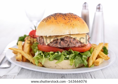 burger on plate with french fries - stock photo