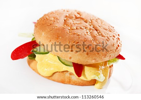 burger on the white