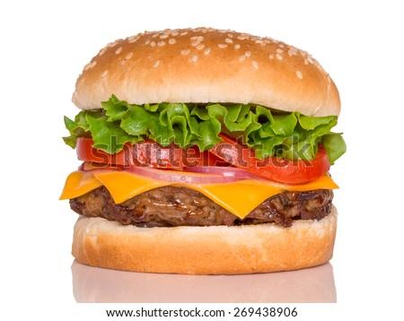 Burger on the white - stock photo